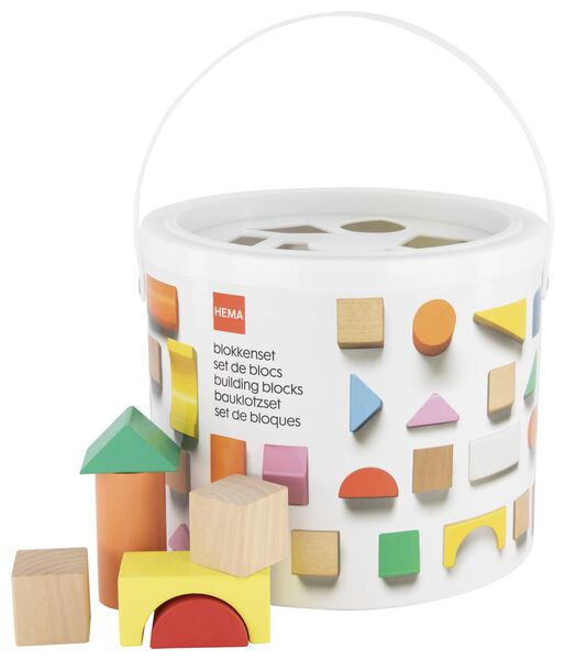 50-piece set of wooden blocks in a bucket - 15190325 - hema