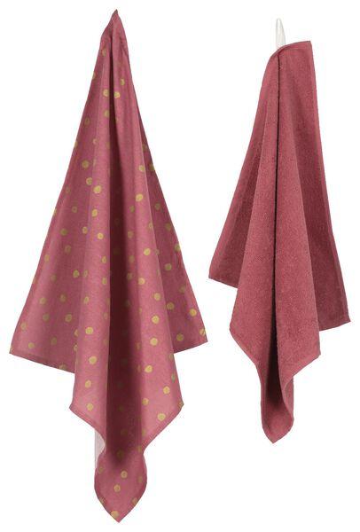 ensemble torchon et essuie-mains rose/doré - 5490024 - HEMA