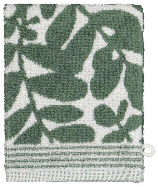 gant de toilette - qualité épaisse - feuilles vert/blanc - 5210114 - HEMA