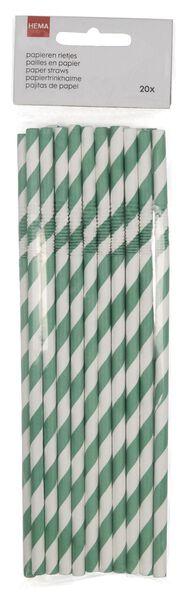 20 pailles en papier flexibles vert - 14200523 - HEMA