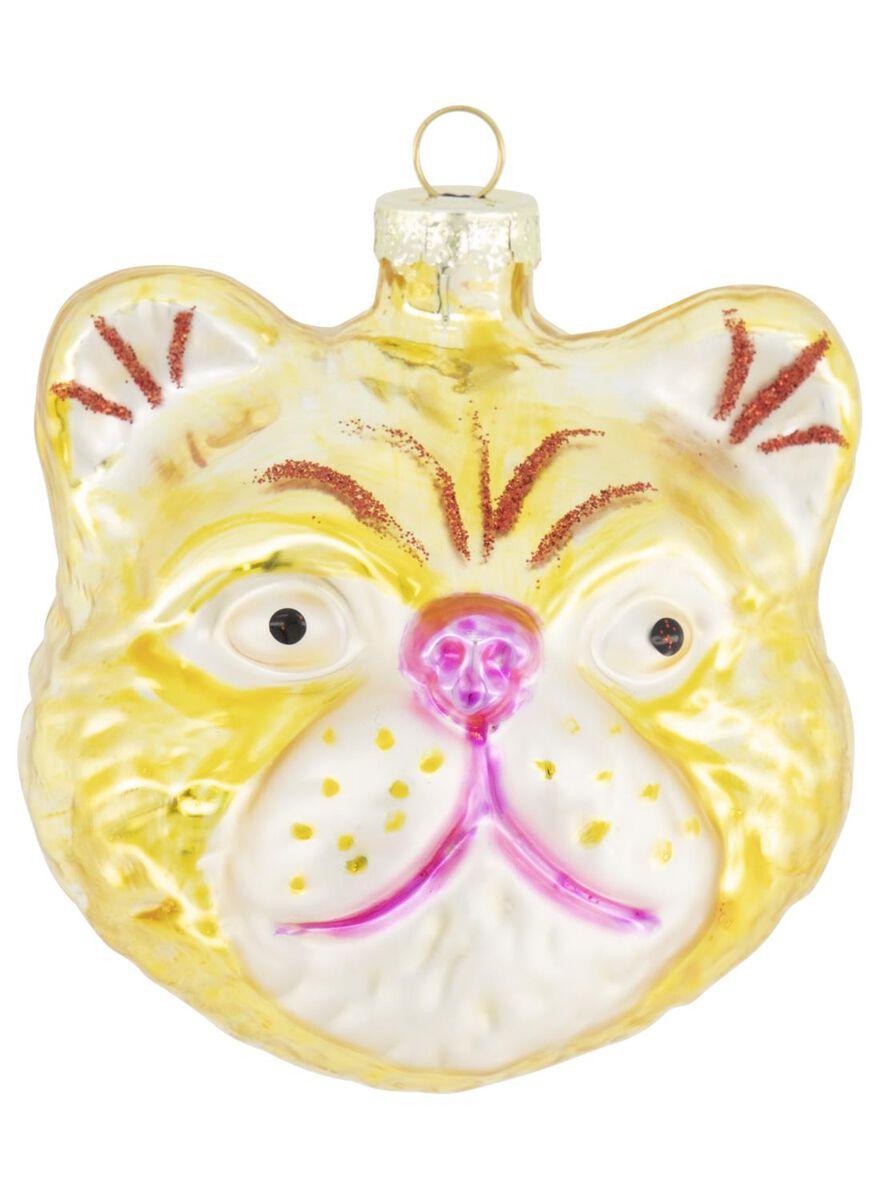 décoration 6x7 verre - tête de chat - 25104808 - HEMA