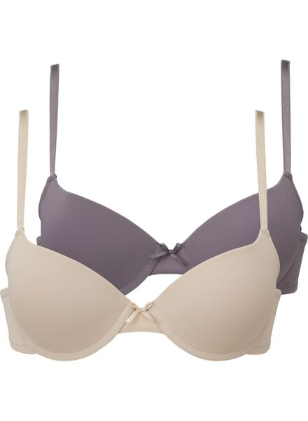 2-pack padded push up bras A-D grey grey - 1000002479 - hema