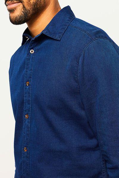 Herren-Jeanshemd dunkelblau dunkelblau - 1000022469 - HEMA