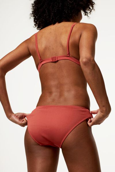 Damen-Bikinislip, gerippt rot rot - 1000023605 - HEMA