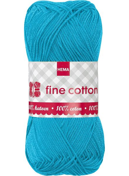 fil à tricoter coton fin fine cotton aqua - 1400006 - HEMA