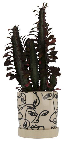 flower pot Ø13x13 ceramic white/black - 13392210 - hema