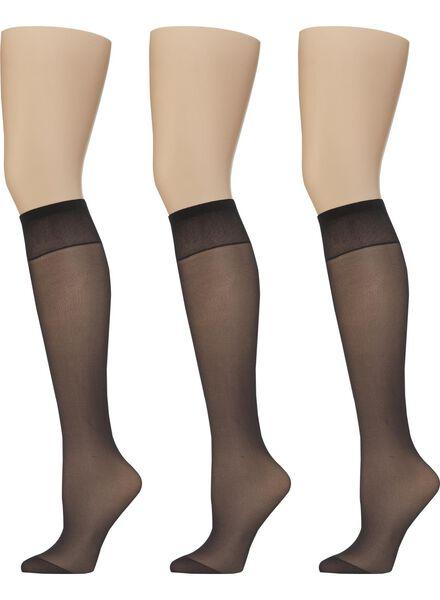 Socken für Frauen - HEMA 3er Pack Leicht Glänzende Kniestrümpfe, 20 Denier Schwarz  - Onlineshop HEMA