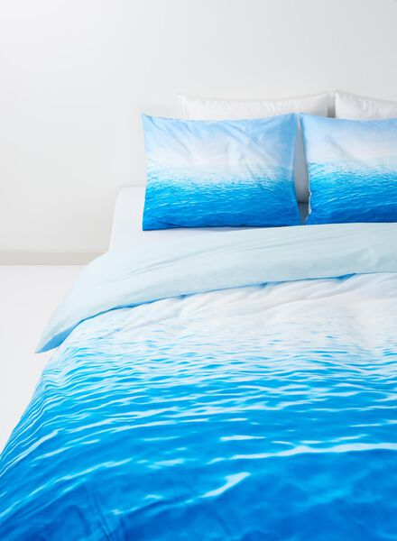 duvet cover - soft cotton - 140 x 200 cm - blue sea blue 140 x 200 - 5700083 - hema