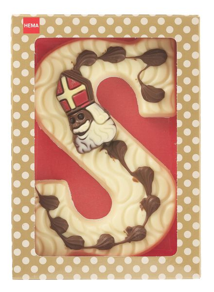 chocoladeletter wit - letter S - 10038052 - HEMA
