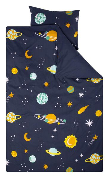 children's duvet cover - soft cotton - 140 x 200 - dark blue planets - 5740077 - hema