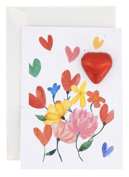 carte fleurs et chocolat 7 g - 10056006 - HEMA