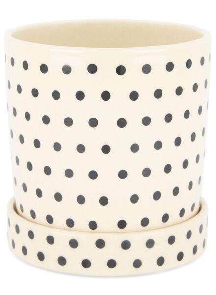 bloempot Ø 13.5 cm - keramiek - zwart/wit - 13392075 - HEMA