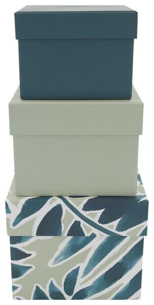 3 boîtes de rangement en carton feuilles vert - 39821125 - HEMA