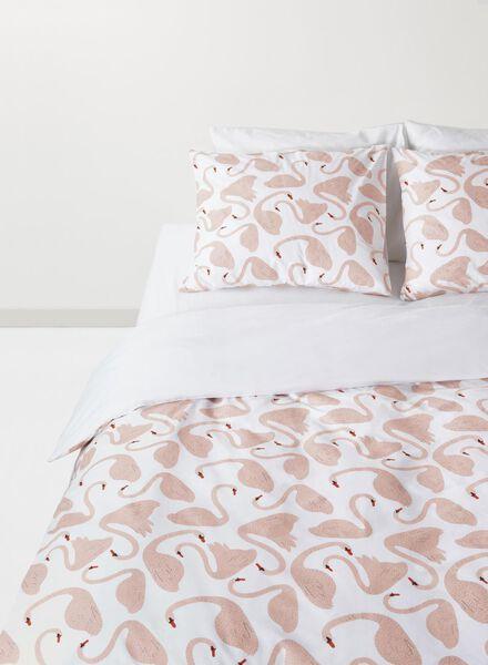 duvet cover - soft cotton - 140 x 200 cm - pink swans - 5710041 - hema