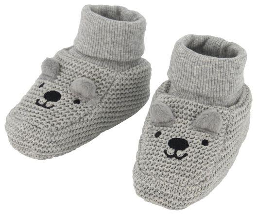 newborn slofjes gebreid grijsmelange grijsmelange - 1000020659 - HEMA