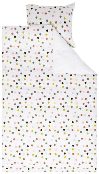 kinderdekbedovertrek - 140x200 - zacht katoen - wit met stippen - 5700197 - HEMA