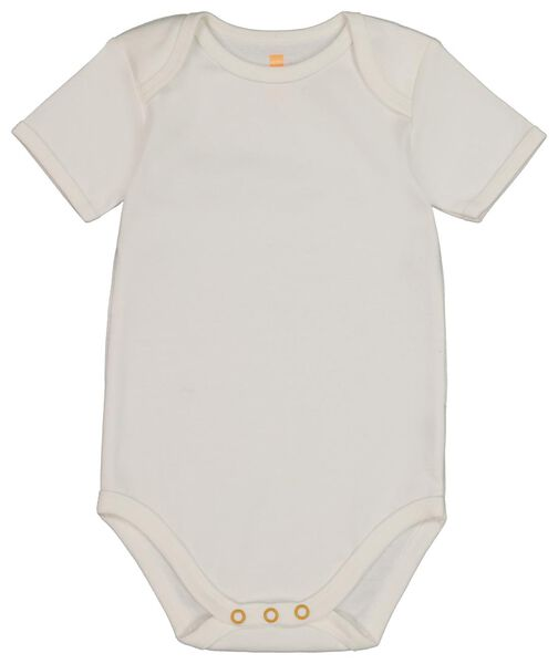 4 bodysuits cotton white white - 1000018456 - hema