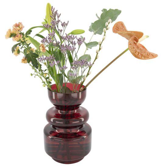 vaas 24 cm - glas - rood - 13392056 - HEMA