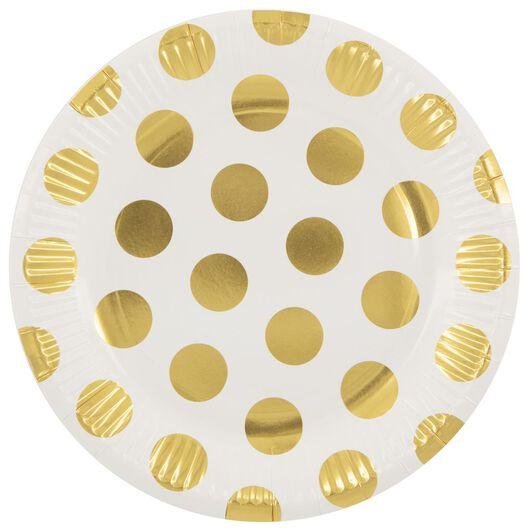 papieren bordjes - 22.5 cm - gouden stip - 8 stuks - 14280211 - HEMA
