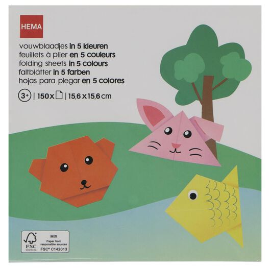 Image of HEMA 150 Small Sheets Of Folding Paper 5 Colours