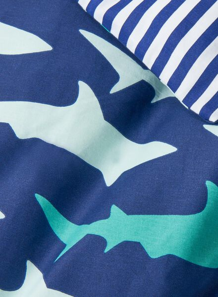 housse de couette enfant-coton doux-140x200cm-bleu requin - 5700097 - HEMA