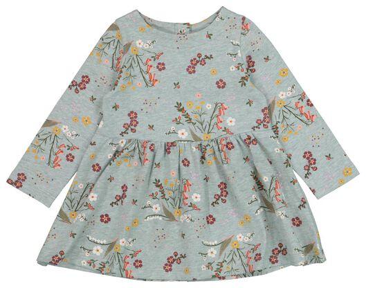 HEMA Baby-Kleid, Elastische Biobaumwolle, Blumen Blau