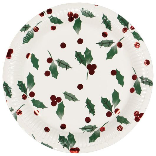 Image of HEMA 10 Paper Plates Ø 22.5 Cm Holly (red)