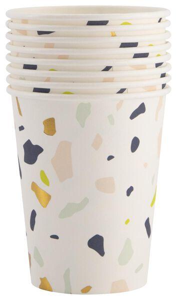 8 gobelets en papier - 250 ml - terrazzo - 14200360 - HEMA