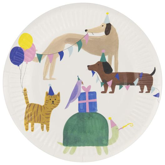 8 cardboard plates Ø17.5cm party animals - 14200482 - hema