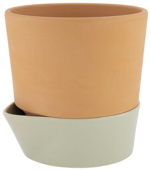cache-pot avec réservoir à eau Ø17 - terre cuite - vert - 41820342 - HEMA