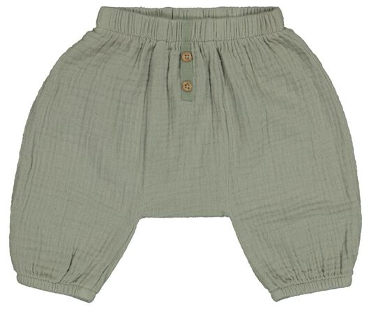 pantalon nouveau-né coton mousseline vert vert - 1000023559 - HEMA