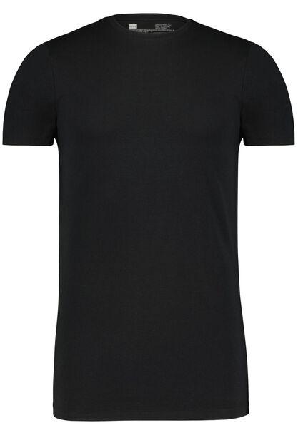 HEMA 2er-Pack Herren-T-Shirts, Regular Fit, Rundhalsausschnitt, Extralang Schwarz