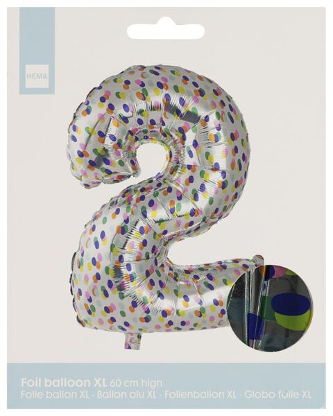 foil balloon XL number 2 - confetti silver 2 - 14230272 - hema