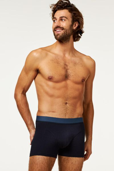 2-pack men's boxer shorts short with bamboo dark blue dark blue - 1000018790 - hema