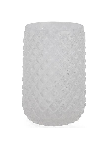 glass vase 13 cm - chequered relief - 13392039 - hema