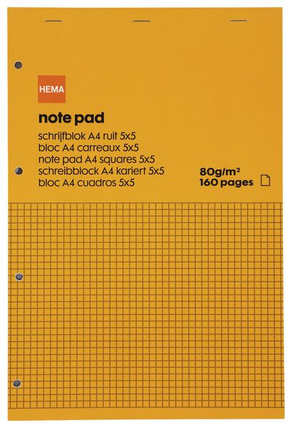 bloc-notes A4 - à carreaux de 5 x 5 mm - 14185210 - HEMA