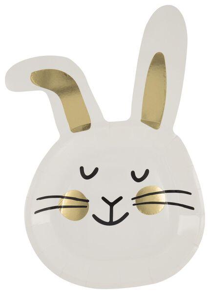 8 assiettes en papier 22.5 cm - blanc lapin de Pâques - 25810106 - HEMA