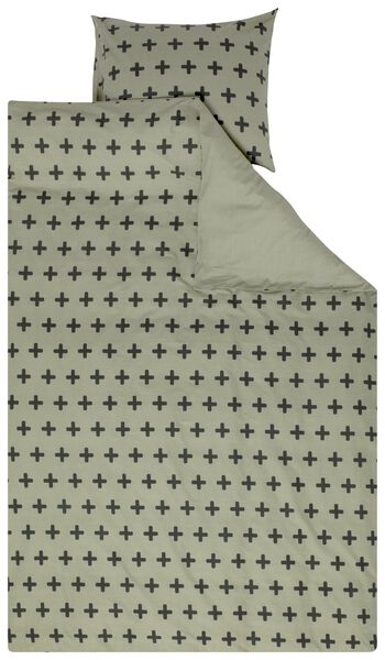 kinderdekbedovertrek - 140x200 - zacht katoen - groene plusjes - 5700196 - HEMA