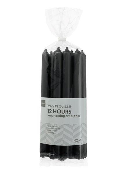 bougies longues - 12 unités - noir noir 2.2 x 29 - 13503362 - HEMA