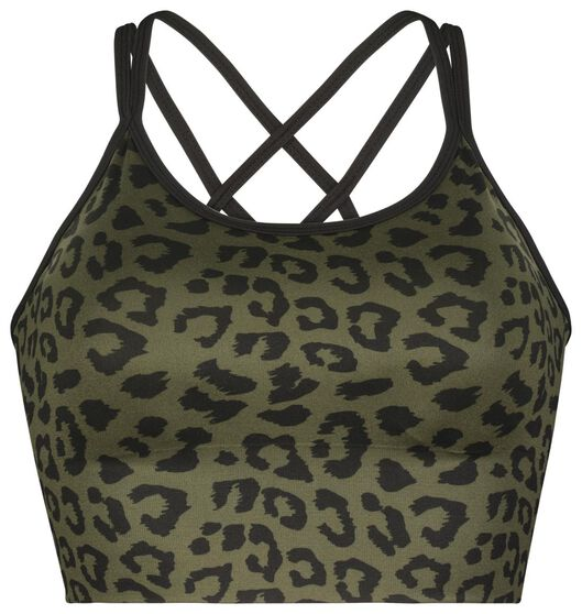 soutien-gorge de sport support medium sans coutures vert vert - 1000022056 - HEMA
