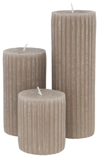 rustic candle with relief - 7x8 - taupe - 13502600 - hema