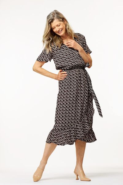 Damen-Kleid, Rüschen schwarz schwarz - 1000024332 - HEMA