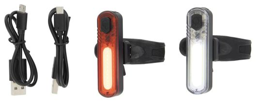 2 rechargeable bicycle lights LED USB - 41120055 - hema