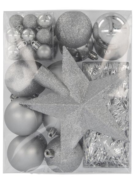 Weihnachtsbaum-Dekorationsset, silbern, 54-teilig - 25100930 - HEMA
