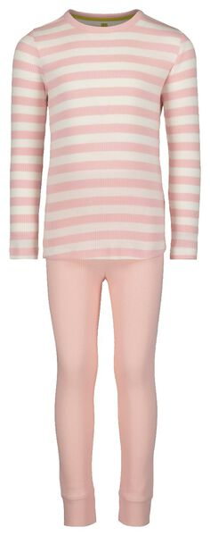 Kinder-Pyjama mit Bambus, gerippt rosa 134/140 - 23070604 - HEMA
