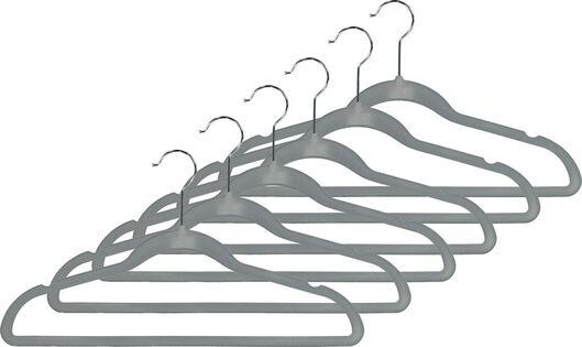 6 clothes hangers velvet grey - 39820504 - hema