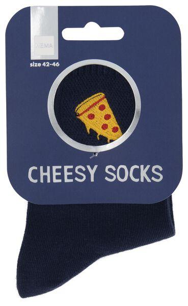 Socken, Größe 42-46, Cheesy Pizza, blau - 61140088 - HEMA