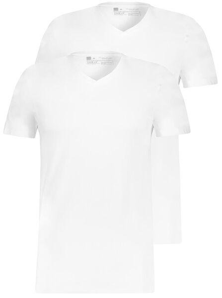HEMA 2er-Pack Herren-T-Shirts, Regular Fit, V-Ausschnitt Weiß