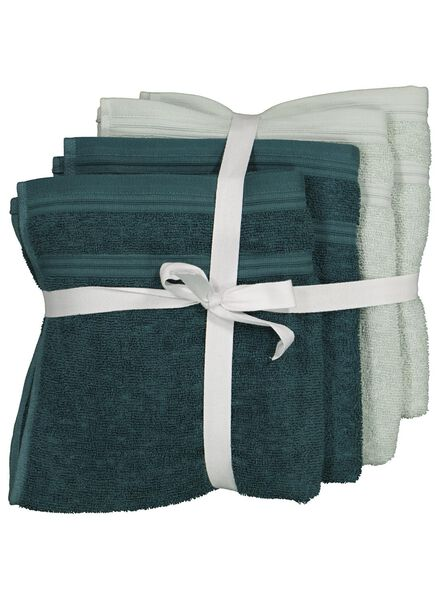 4 towels - 50 x 100 cm - cotton with rPET - green - 5230003 - hema
