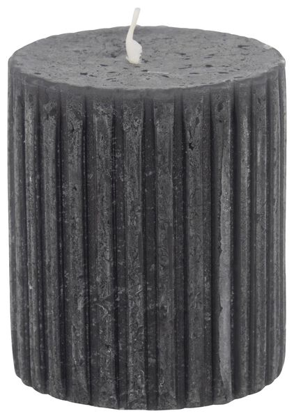 rustic candle with relief - 7x8 - black - 13502603 - hema